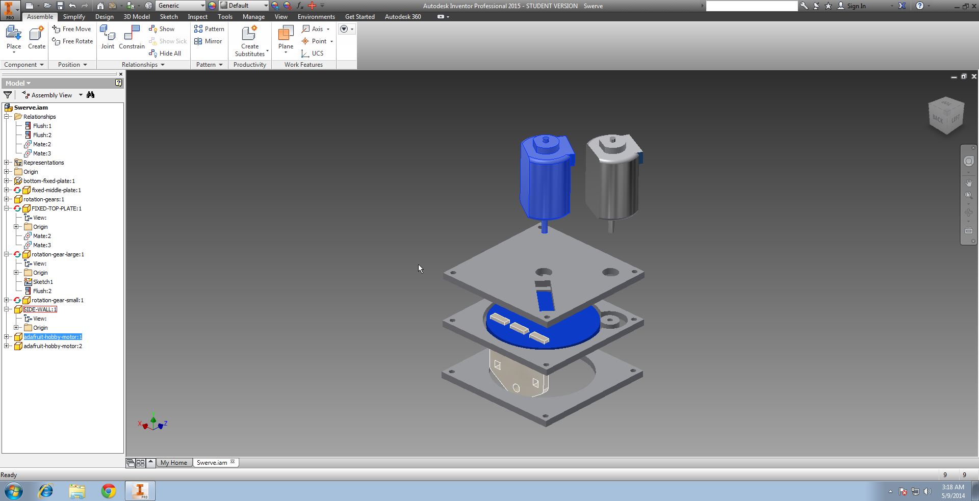 Tiny-swerve Prototype, drawn out in Inventor